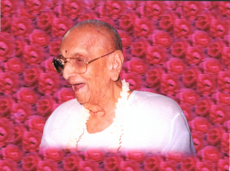Sri Radhika Prasad Ji Maharaj in roses made by devotees of SKota